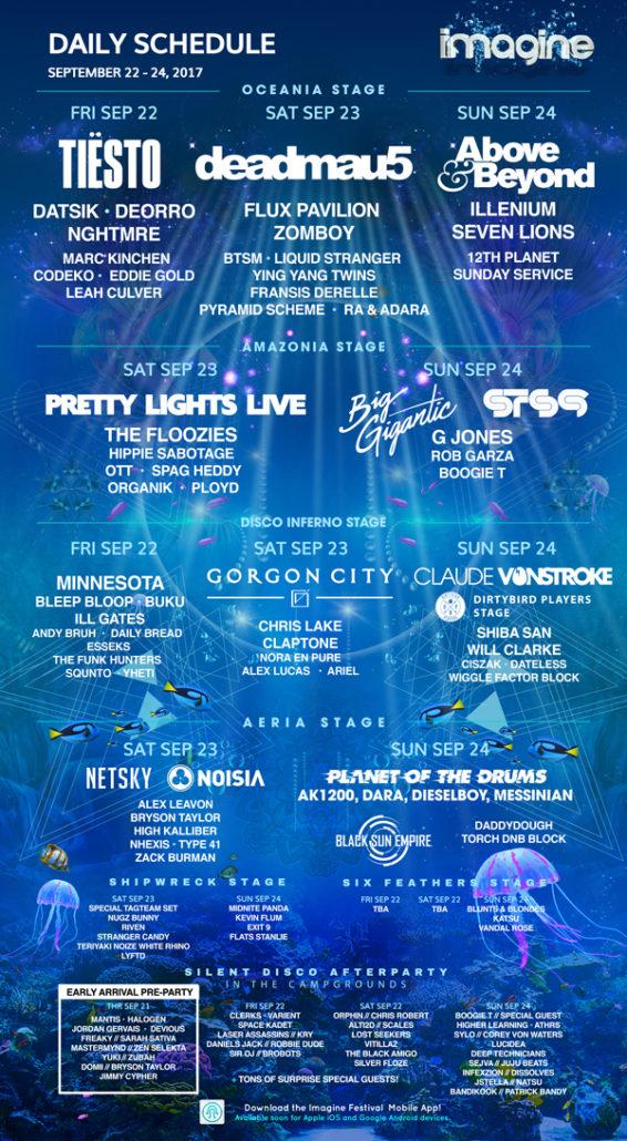 Imagine Music Festival Daily Line Up